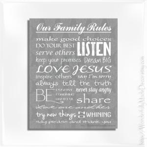 Family Rules Damask - Frame