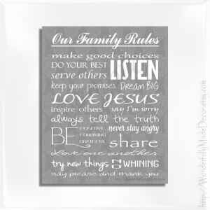 Family Rules Damask - Frame